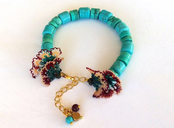 jewels jewelry bracelets turquoise needles needle work needle lace valentines day gift idea handmade etsy sale trendy women gift ideas