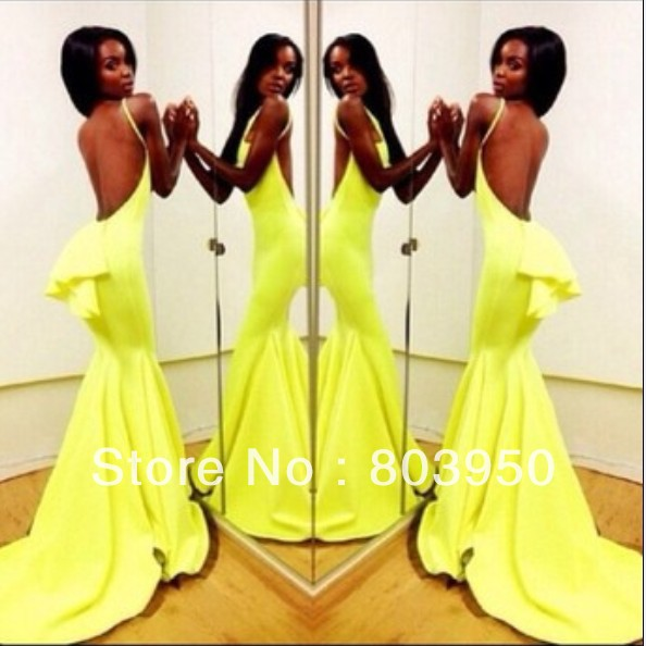 Sexy Vestidos De Fiesta Sweetheart Vestido Amarelo Yellow Chiffon Mermaid Long Prom Dresses Winter Women Party Dresses 2014-in Evening Dresses from Apparel & Accessories on Aliexpress.com