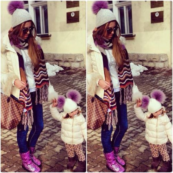hat faux fur winter outfits purple pom pom beanie