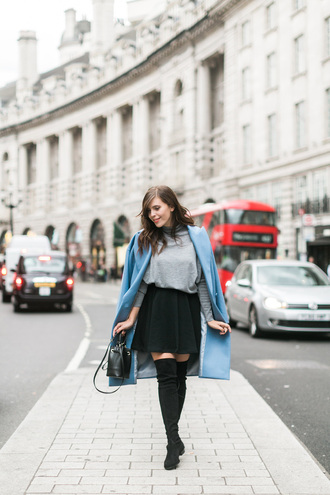 wish wish wish blogger blue coat thigh high boots grey sweater black skirt