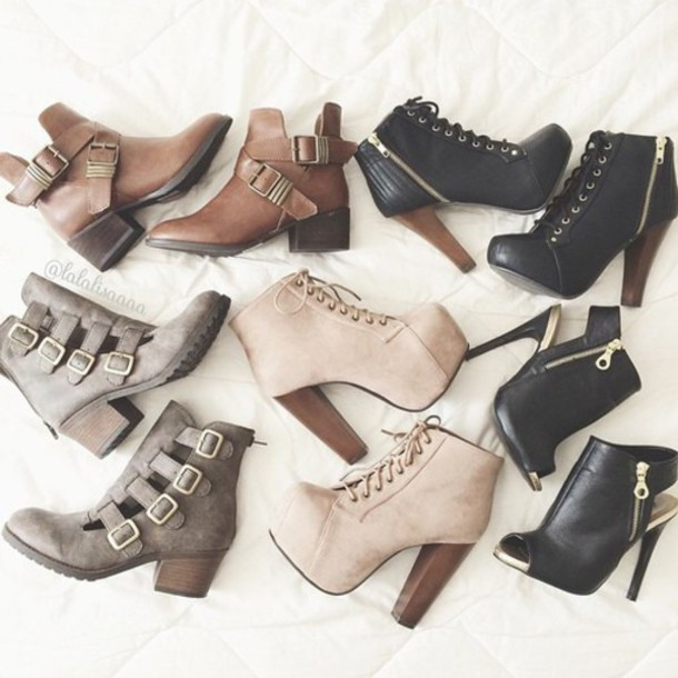 shoes lovely boots high heels platform lace up boots