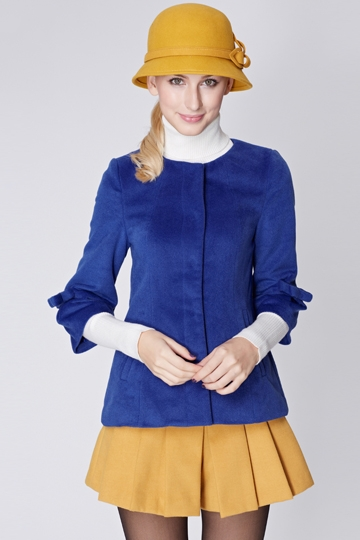 Three Quarters Sleeve Round Collar Coat with Bowknot [FEBK0464]- US$ 63.99 - PersunMall.com