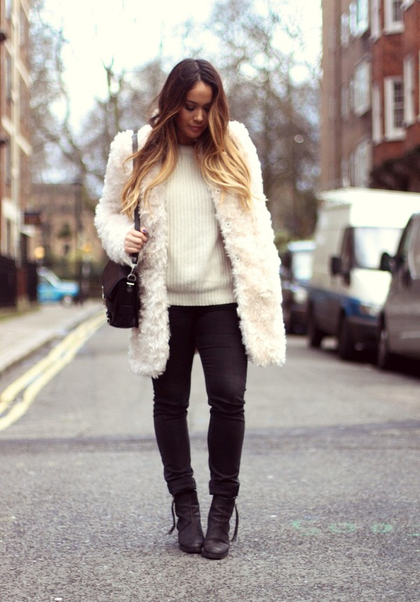 louhayhay coat sweater jeans shoes bag