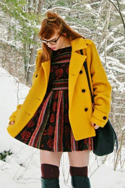 secret garden blogger patterned dress mini dress yellow coat
