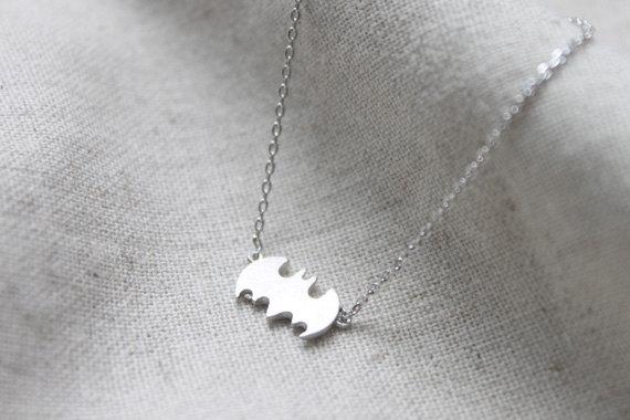 Halloween tiny Batman Necklace  S21911 by Ringostone on Etsy