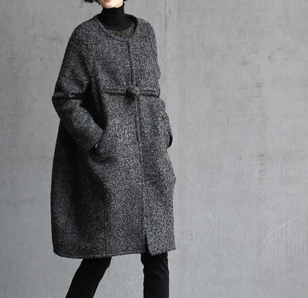 coat wool coat charcoal