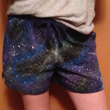 GALAXY/COSMIC SHORTS One of a kind hand painted knit shorts on Wanelo