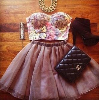 tank top clothes skirt chiffon skirt chiffon bralette purple floral tank top floral flowers bag shoes jewels lace top crop tops heels chain shirt