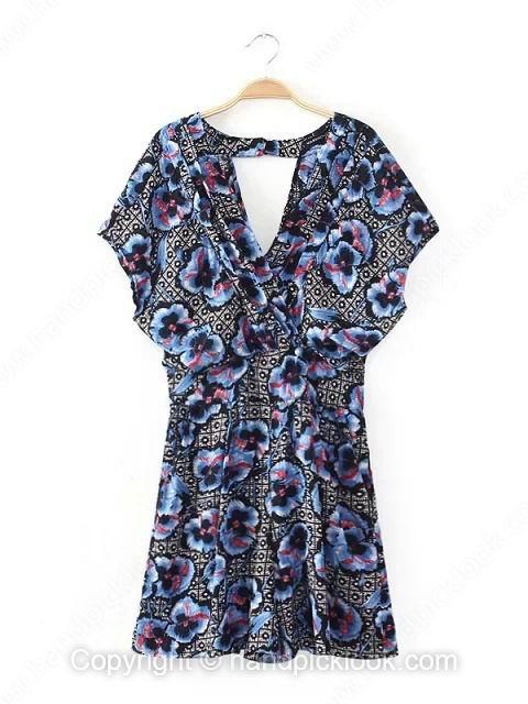 Multicolor V-neck Short Sleeve Colorful Floral Print Jumpsuit - HandpickLook.com