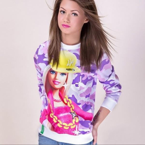 sweater pink camouflage 3d sweatshirt barbie top barbie hip hop barbie fashion trendy trendy top camouflage 3d sweatshirts