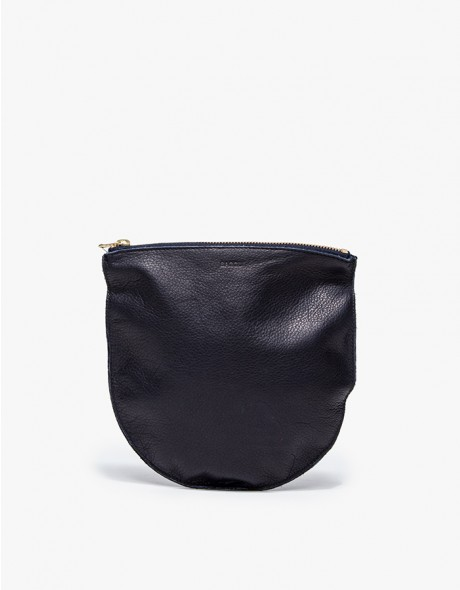 Medium Leather Pouch Navy