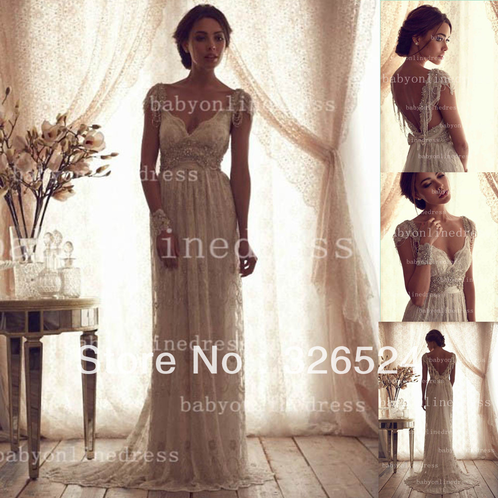 Aliexpress.com : Buy New arrivals 2014 crystal wedding dress  v neck cap sleeve  open back lace  a line sexy  Bridal gown dress  BO2212 from Reliable dress women suppliers on Dress Just  For You.
