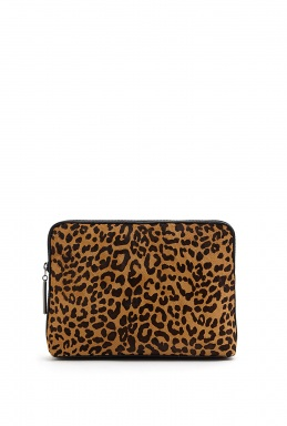 3.1 Phillip Lim  | Natural Leopard Print Haircalf 31 Minute Cosmetic Zip Clutch