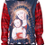 ROMWE | ROMWE Virgin Mary Print Vinyl Long-sleeved Sweatshirt, The Latest Street Fashion