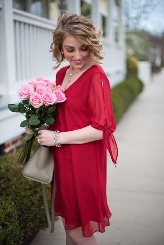 something delightful blogger dress shoes bag jewels red dress