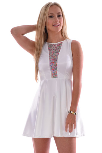 Ladies Udo A-Line Dress with Multi Coloured Gem Front | Pop Couture