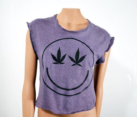 Upcycled Smiley Marijuana Grunge Crop Top Sleeveless Women's Oversize Small ($28.00) - Svpply
