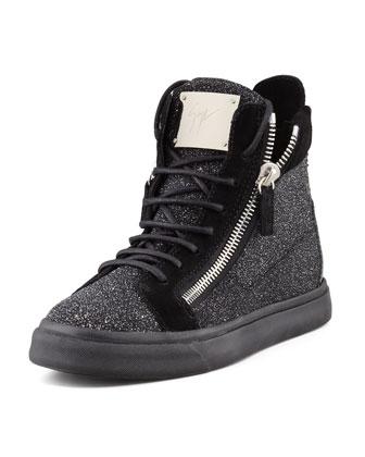 Giuseppe Zanotti High-Top Glitter Sneaker, Black - Neiman Marcus