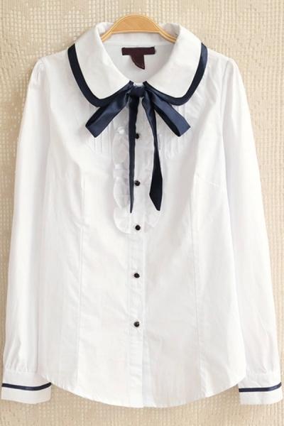 Sweet Ruffled Button-up Shirt - OASAP.com