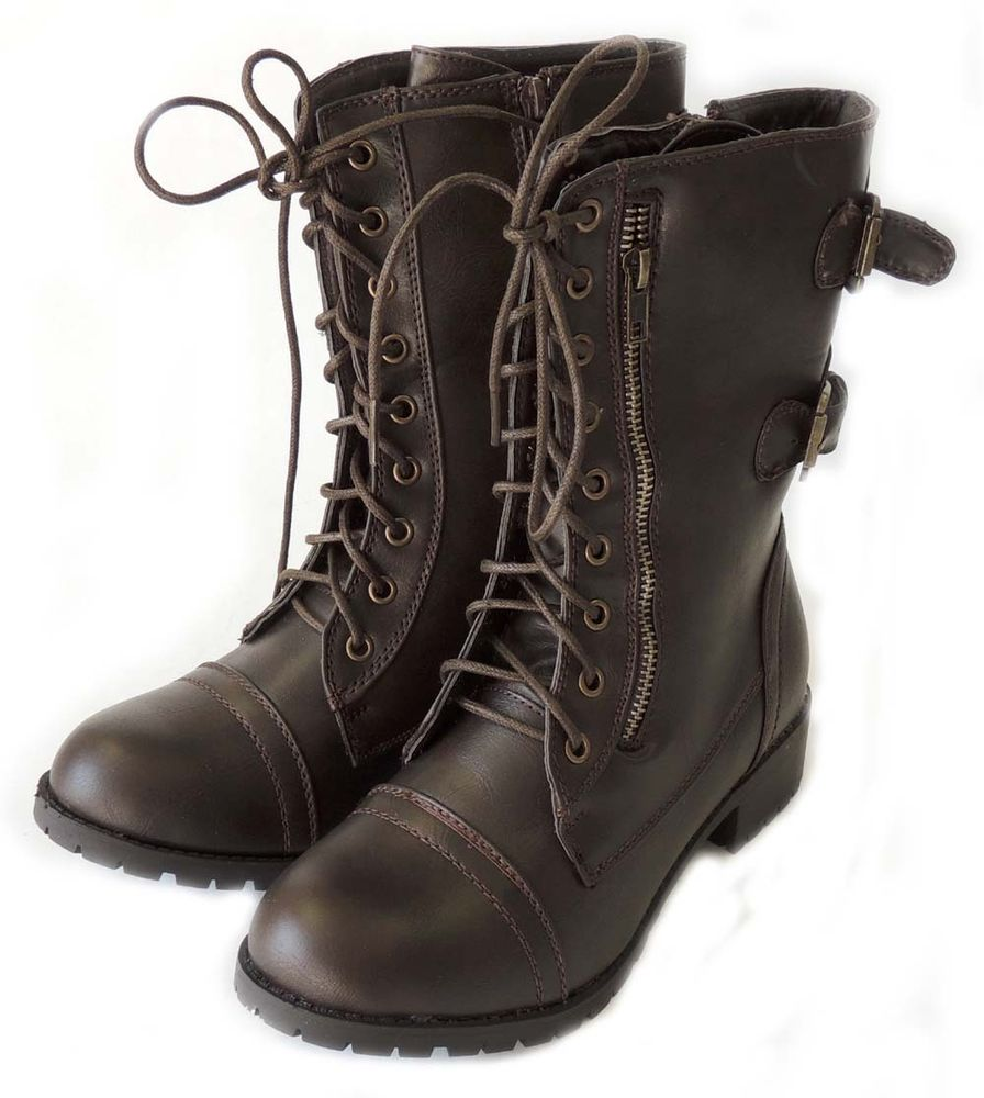 NEW FASHION WOMEN SHOES MILITARY COMBAT BOOTS LACE UP BUCKLE ALICE - 03 / BROWN | eBay