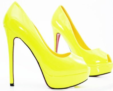 ROSELIGHT Peep Toes Neon Gelb Lack mit Rosa Roter Sohle: Amazon.de: Schuhe & Handtaschen