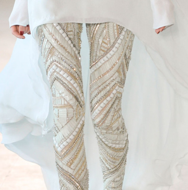 pants leggings beaded white tights embellished leggings glamour bedazzled statement studs boho gypsy embellished skinny pants gold gold sequins sequins beige sequins leggings white cream beige white white beaded white leggings jewels rhinestone creme perfection embellished white leggings tan sparkle beaded pants embellished pants