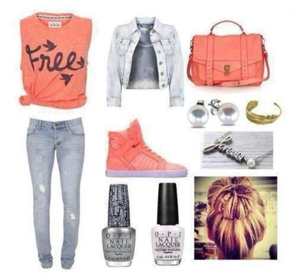 t-shirt shoes denim jacket jewelry bag pink crop tops blouse bralette jacket jewels jeans nail polish leggings