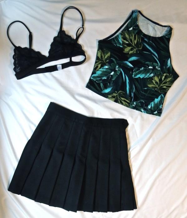 blouse underwear skirt shirt summer short ruffle top green leaves bralette