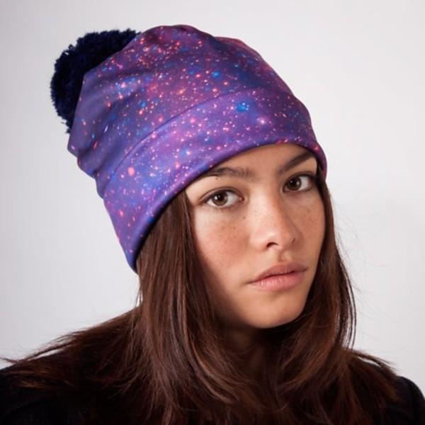 hat purple blue navy pom pom beanie galaxy print