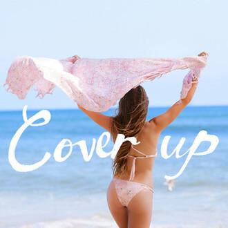 scarf pareo beach towel cover up loose coverup bikini pink pretty ocean beach wrap kimono tie on
