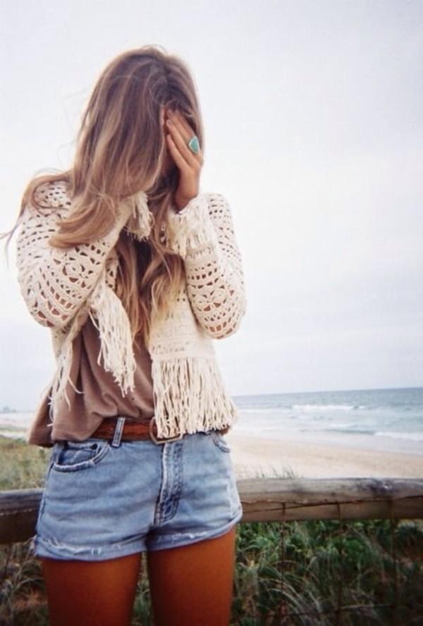 jacket crochet boho shorts