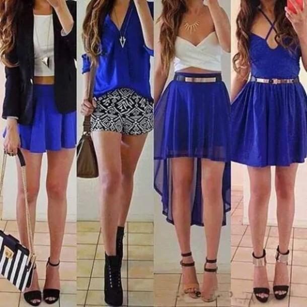 skirt blue hi-lo skirt white crop tops blue dress blue skirt black jacket blue shirt white shirt