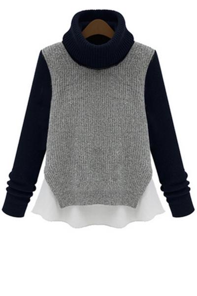 Color Block Turtleneck Sweater - OASAP.com