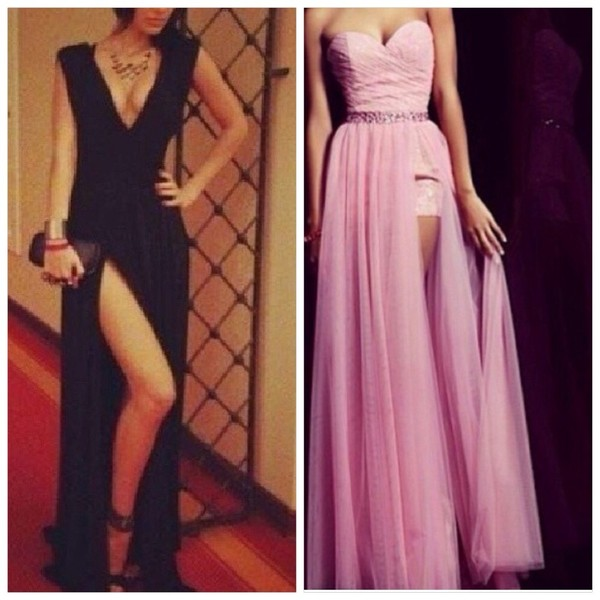 dress black maxi dress prom dress pink side slit