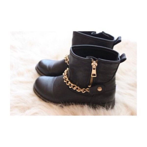 shoes black little short boots shoes nice stuff pretty fashion and gold