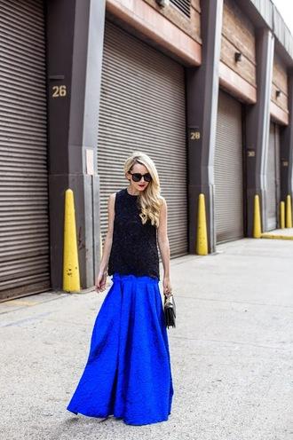 atlantic pacific blogger top sunglasses jewels blue skirt satchel bag skirt bag