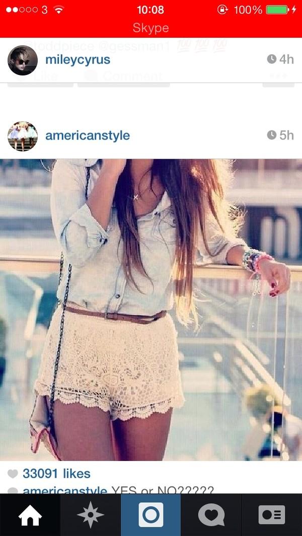 shirt blue acid wash cream lace shorts borwn belt shoulder bag pretty cute fashion bag