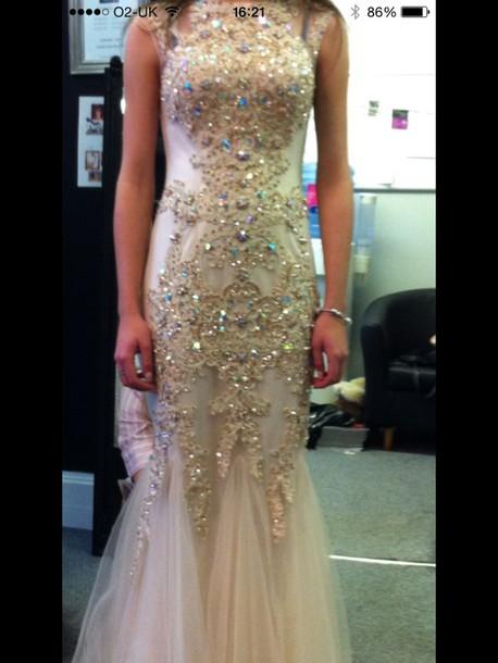 dress prom dress champagne sparkle jewels