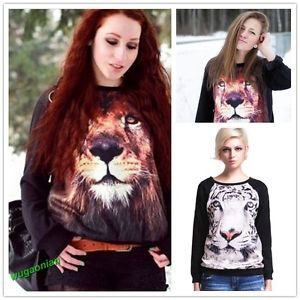 Womens 3D Lion Tiger Print Long Sleeve Black Jumper Pullover Sweatshirt Tops | eBay