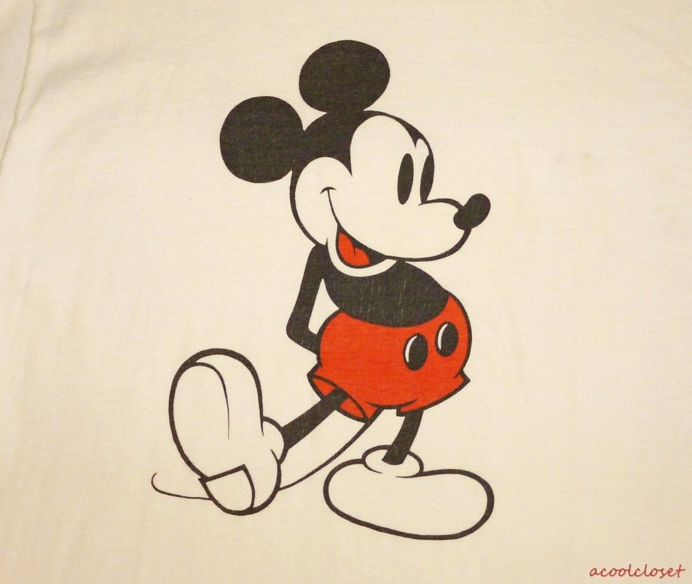 Mickey Mouse Vintage 70's T Shirt Ringer Walt Disney Productions Cotton L | eBay
