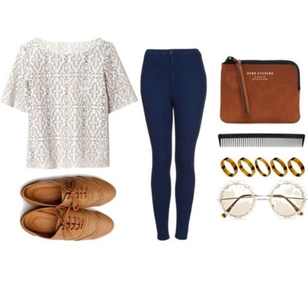 jeans white shirt glasses bracelets shoes cute blouse shirt jewels