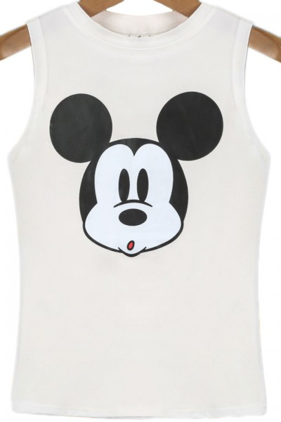 KCLOTH White Sleeveless Mickey Print Crop Vest