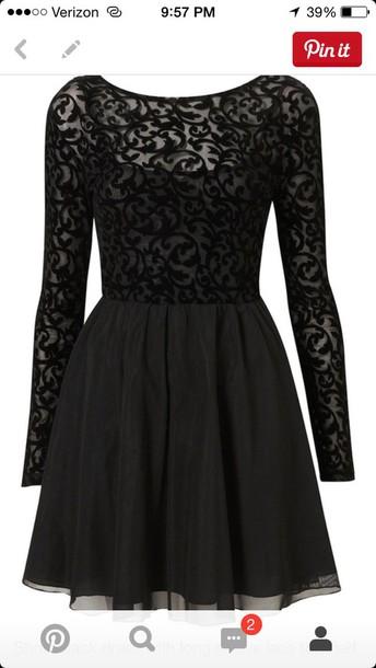 dress long sleeve black lace  dress