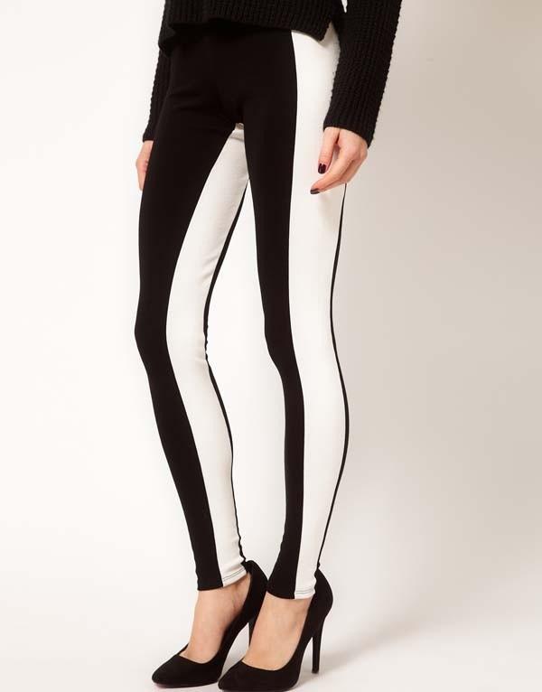 pants leggings black and white