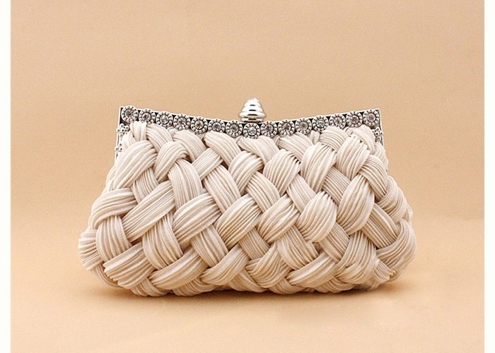 Wholesale Wedding Women's Evening Bag With Weaving and Pure Color Design (APRICOT), Clutches - Rosewholesale.com