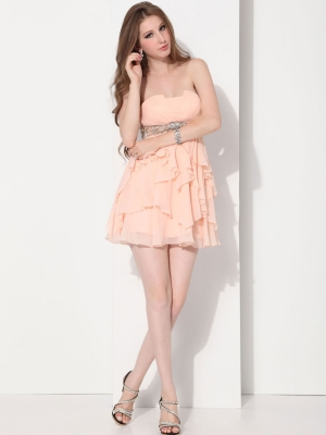 Buy Adorable Pearl Pink A-line Scalloped-egde Neckline Mini Homecoming Dress   under 200-SinoAnt.com