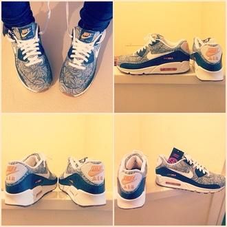 shoes streetwear nike nike air nike air max 90 nike shoes for women sneakers nike sneakers trainers blue shoes blue trainers yellow shoes yellow white shoes white sneakers liberty liberty shoes air max