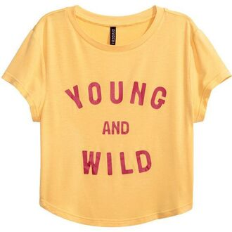t-shirt top indie yellow yellow indie young wild young and wild red quote on it red letters t-shrit