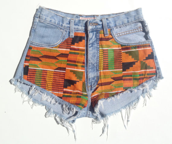 Vintage high waist or low rise kente shorts by ZamGhuden on Etsy