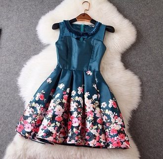 dress earphones luulla flowers love blue party summer floral dress party dress cute style cute dress sexy party dresses colorful patterns fashion